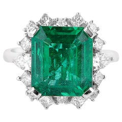 5.71 Carat Zambian Emerald Ring in 18 Karat White Gold with White Diamonds