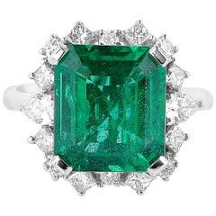 5.71 Carat Zambian Emerald & White Diamond Ring in 18 Karat White Gold