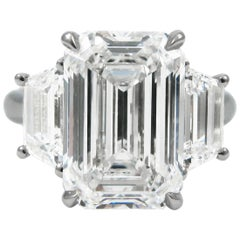5.71 Ct GIA E Internally Flawless Emerald Cut Diamond Platinum J Birnbach Ring