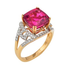 5.72 Carat Cushion Shaped Rubelite Ring in 18 Karat Yellow Gold with Diamonds