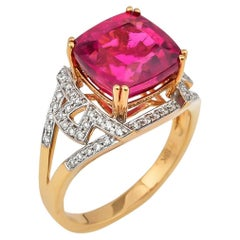 5.72 Carat Cushion Shaped Rubelite Ring in 18 Karat Yellow Gold with Diamonds