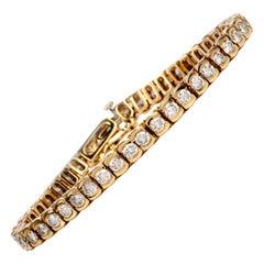 5.72 Carat Diamond 18 Karat Yellow Gold Bezel Set Tennis Bracelet
