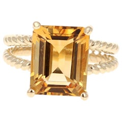 5.72 Carat Emerald Cut Citrine Quartz Yellow Gold Cocktail Ring