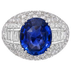 5.72 Carat GRS Certified 18K Gold Non Heated Sapphire and Natural Diamond Ring