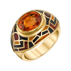5.72 Carat Oval Spessartite Garnet with Vitreous Enamel Yellow Gold Band Ring