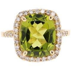 5.72 Carat Peridot Diamond Engagement Yellow Gold Ring