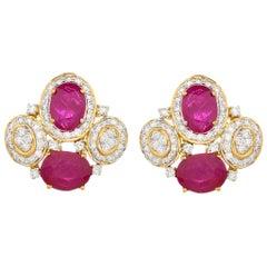 5.72 Carat Ruby and Diamond 18 Karat Yellow Gold Stud Earrings