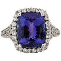 5.72 Carat Tanzanite Diamond 18 Karat White Gold Ring