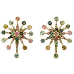 5.72 Carat Tourmaline Sapphire 18 Karat Gold Star Stud Earrings