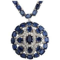 57.24 Carat Natural Sapphire 18 Karat White Gold Diamond Necklace