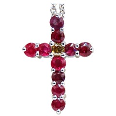 5.73 Carat Natural Ruby Fancy Color Yellow Green Diamond Cross 14 Karat