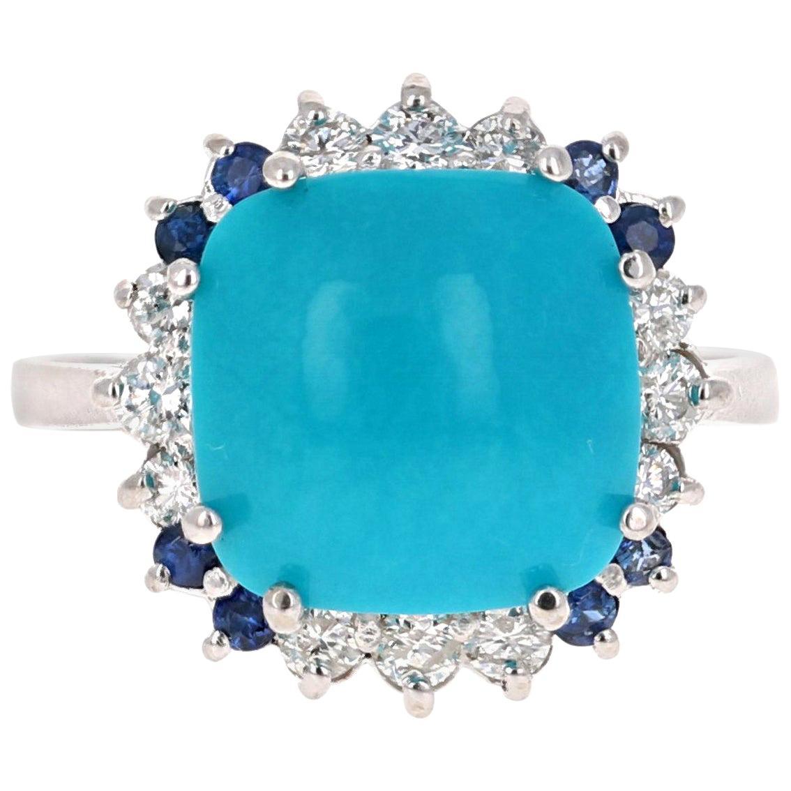 5.73 Carat Turquoise Sapphire Diamond 14 Karat White Gold Cocktail Ring