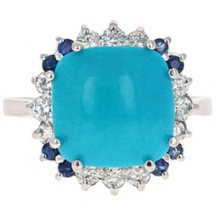 5.73 Carat Turquoise Sapphire Diamond 14 Karat White Gold Cocktail Ring