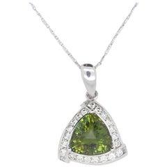 5.74 Carat Trillion Green Tourmaline and Diamond Pendant