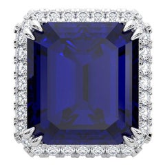 57.45ct Royal Blue Natural Tanzanite 18K White Gold Handmade Pendant or Brooch