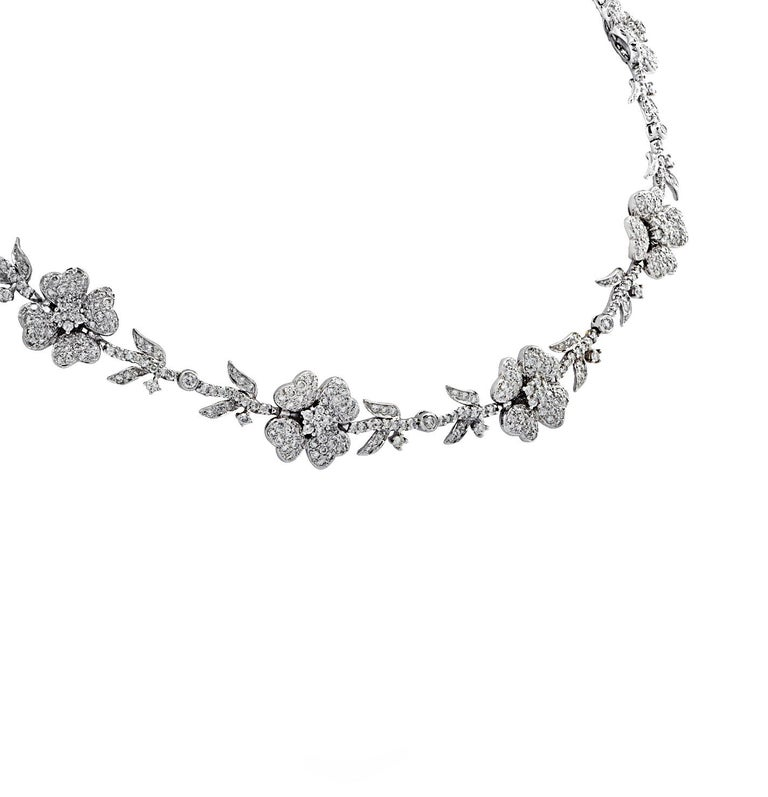 Modern 5.75 Carat Diamond Flower Necklace For Sale