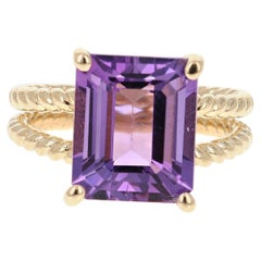 5.75 Carat Emerald Cut Amethyst Yellow Gold Solitaire Ring