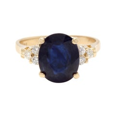 5.75 Carat Exquisite Natural Blue Sapphire and Diamond 14K Solid Yellow Gold