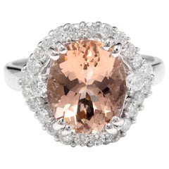 5.75 Carat Exquisite Natural Morganite and Diamond 14K Solid White Gold Ring