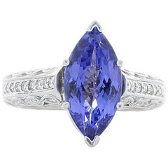 5.75 Carat Marquise Tanzanite and Diamond White Gold Cocktail Ring
