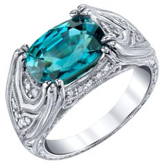 5.75 Carat Oval Blue Zircon and Diamond White Gold Wide Band Cocktail Ring
