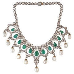 57.52 Carat Emerald Rose Cut Diamond Pearl Maharaja Necklace