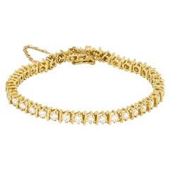 5.76 Carat 14 Karat Yellow Gold Diamond Tennis Bracelet
