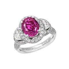 5.76 Carat Cushion Cut Rare Pink Sapphire and Diamond Ring in 18 Karat Gold