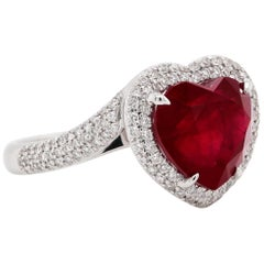 5.76 Carat Heart Ruby Diamond Solitaire Ring