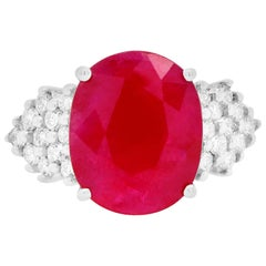 5.76 Carat Oval Ruby and Diamond Ring