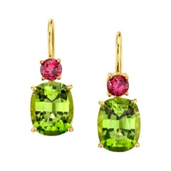 5.76 Carat Peridot and Garnet 18 Karat Yellow Gold Earrings