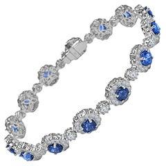5.76 Carat Round Blue Sapphire and 3.54 Carat Diamond Bracelet