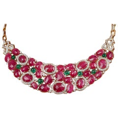 57.62 Carats Ruby Flats Emerald Cabochon and Diamond 18kt Yellow Gold Necklace