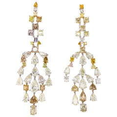 57.64 Carat Fancy Coloured Diamonds and White Diamond Chandelier Gold Earrings