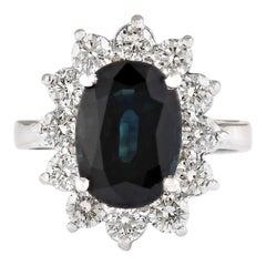 5.77 Carat Natural Sapphire 18 Karat White Gold Diamond Ring