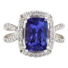 5.77 Carat Natural Tanzanite 18 Karat White Gold Diamond Ring