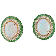 5.77 Carat Opal, Emerald and Diamond 18 Karat Yellow Gold Earrings