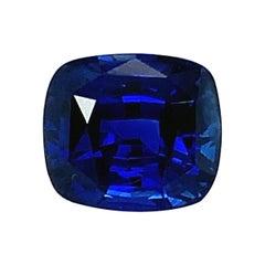 5.77 Carat Royal Blue Sapphire Cushion GIA Unset 3-Stone Engagement Ring Gem