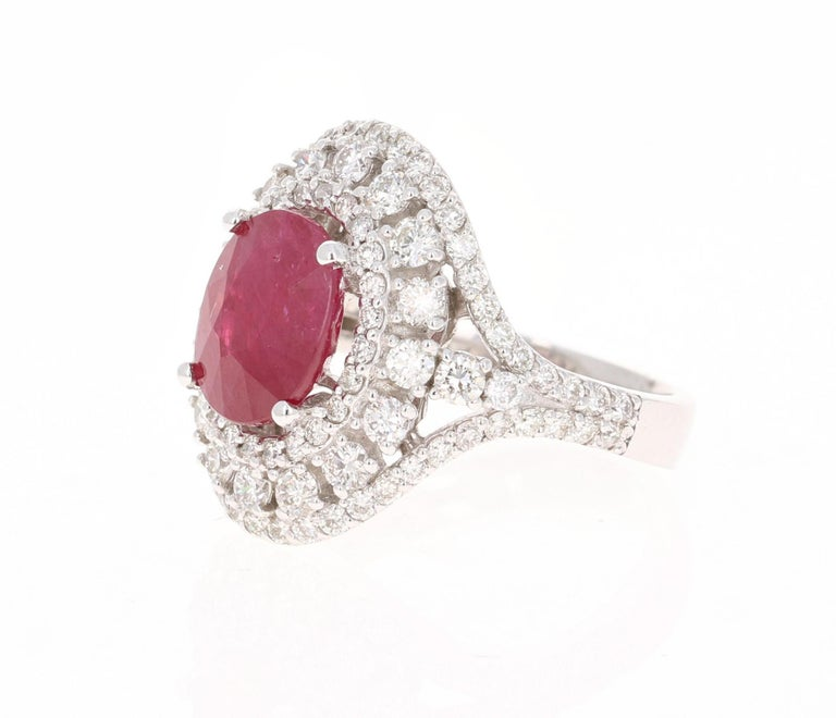 Modern 5.77 Carat Ruby Diamond 14 Karat White Gold Cocktail Ring For Sale
