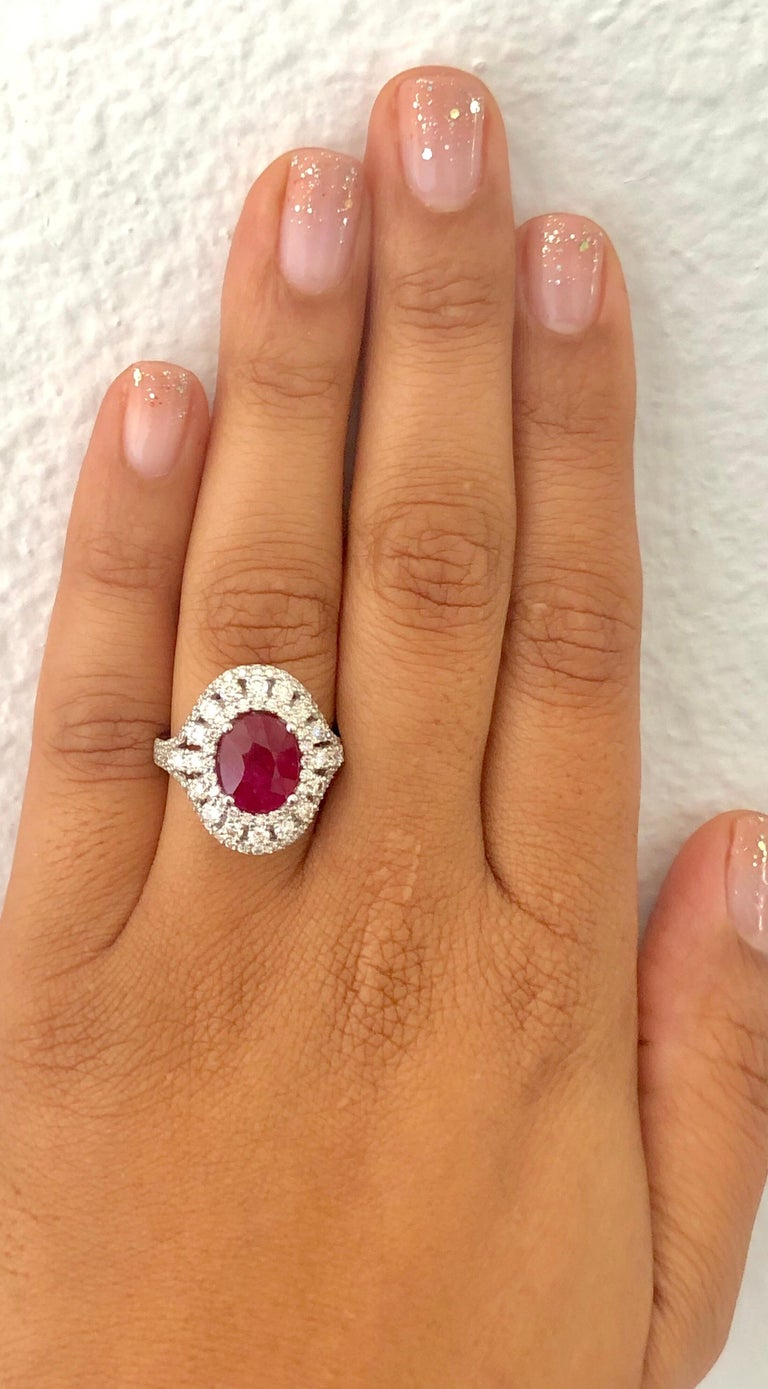 5.77 Carat Ruby Diamond 14 Karat White Gold Cocktail Ring In New Condition For Sale In Los Angeles, CA
