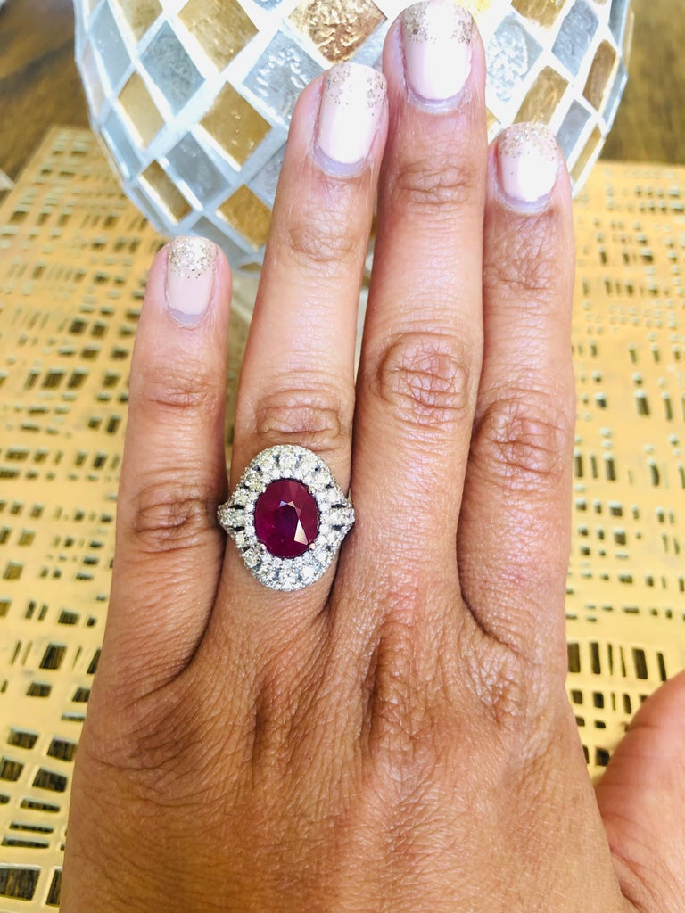 Women's 5.77 Carat Ruby Diamond 14 Karat White Gold Cocktail Ring For Sale