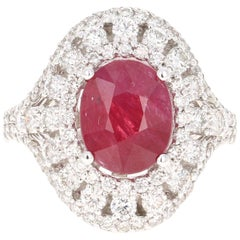 5.77 Carat Ruby Diamond 14 Karat White Gold Cocktail Ring