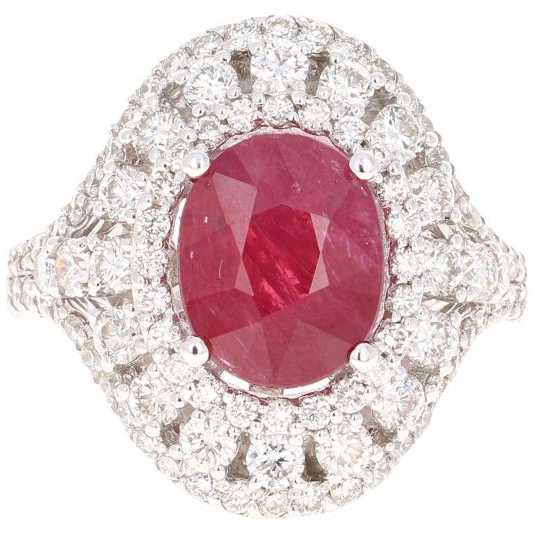 5.77 Carat Ruby Diamond 14 Karat White Gold Cocktail Ring For Sale