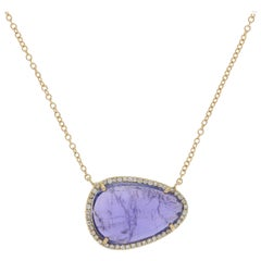 5.77 Carat Tanzanite and Diamond Halo Necklace, 14 Karat Gold Adjustable Cable
