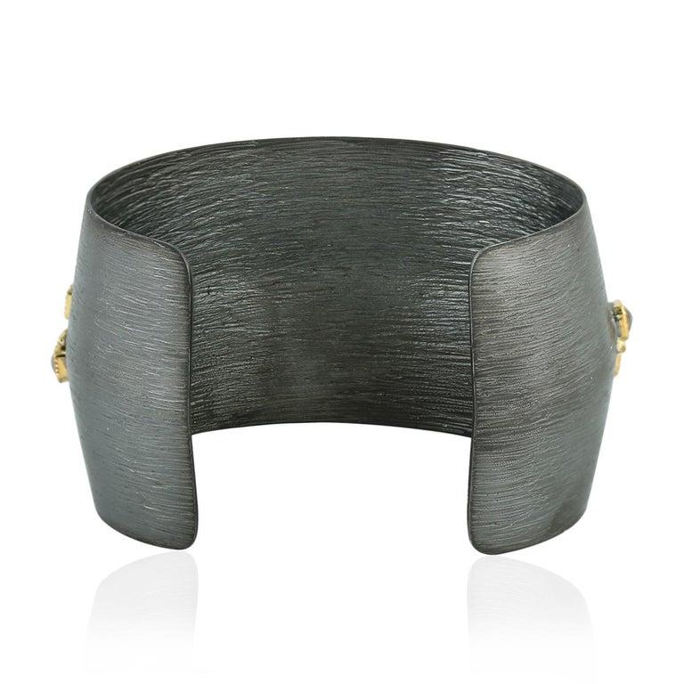 Artisan 5.77 Carat Raw Uncut Cube Diamond Cuff For Sale