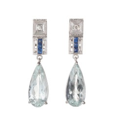5.78 Carat Pear Shape Aqua Sapphire Diamond Dangle Gold Earrings