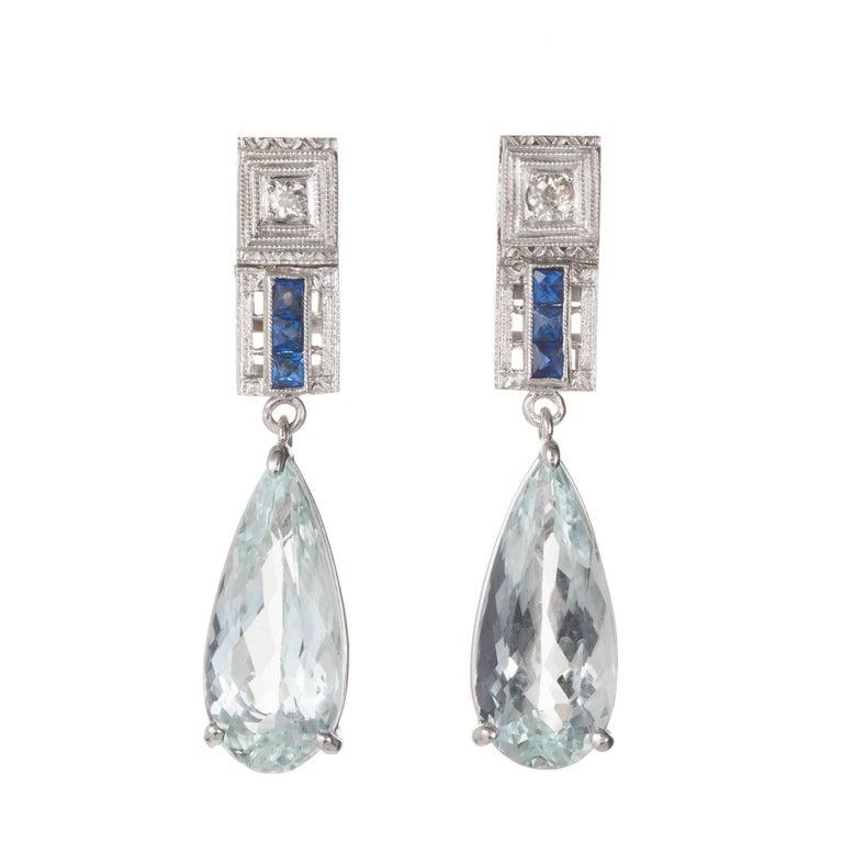 5.78 Carat Pear Shape Aqua Sapphire Diamond Dangle Gold Earrings