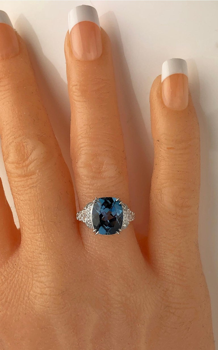 5.79 Carat Cushion Cut London Blue Topaz and 0.52 Carat Diamond Cocktail Ring In New Condition For Sale In New York, NY