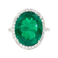5.79 Carat Emerald and Diamond Platinum Cocktail Ring