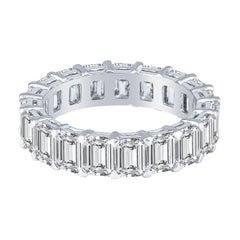 5.79 Carat Emerald Cut Diamond Eternity Band Handcrafted in Platinum Low-Profile